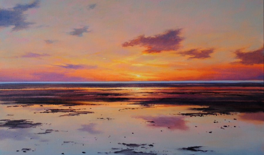 'Reflected Clouds, West Beach_ , 61 x 61cm, oil on canvas - Sold